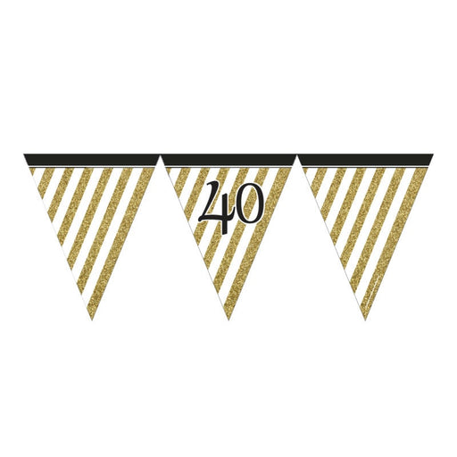 Black & Gold 40 Flag Bunting
