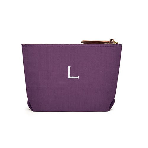 Women's Personalised Napa Linen Makeup Bag- Plum / Purple