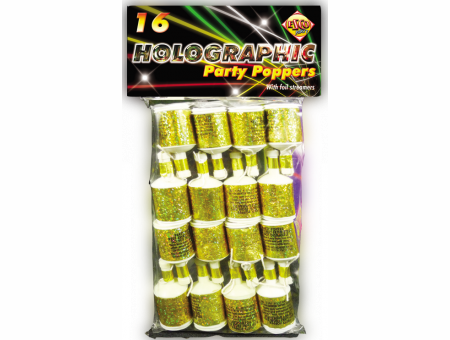 Holographic Gold Party Poppers X16