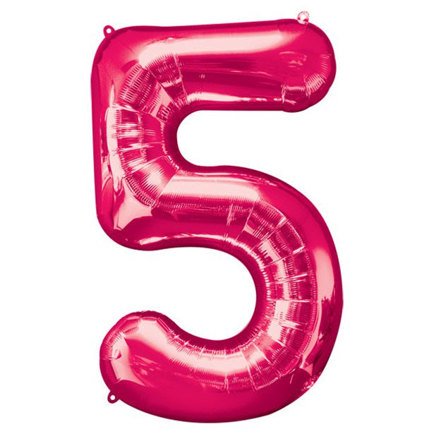 Balloon Foil Number - 5 Pink - 34""