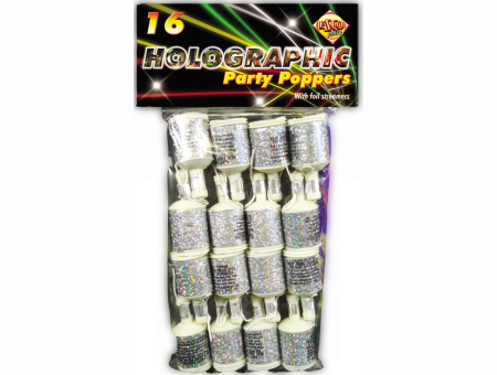 Holographic Silver Party Poppers X16