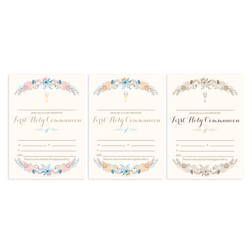 Invitation Fill-in - Holy Communion - Shabby Chic Floral