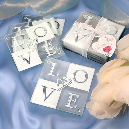 Love Glass Coaster Set x 4