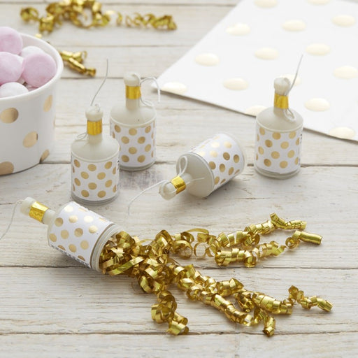 Party Poppers - Gold Foil Polka Dots