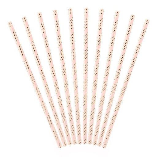 Paper Straws - Light Pink and Gold - Striped 10pk