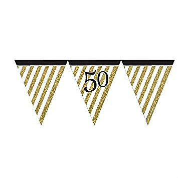 Black & Gold 50 Flag Bunting