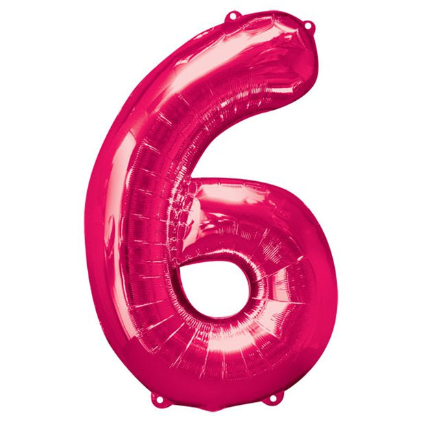 Balloon Foil Number - 6 Pink - 34""