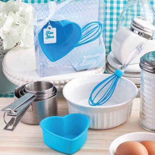 Blue Silicon Whisk & Heart Cake Mold Set