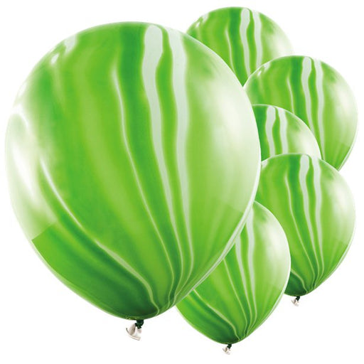 Balloons Latex - Marble Effect - Green 6pk
