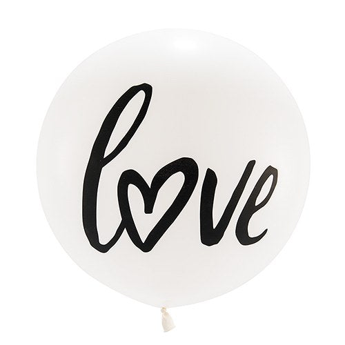 "Balloon Matte Latex - Jumbo White Round Wedding Balloon - ""Love"" 36"""