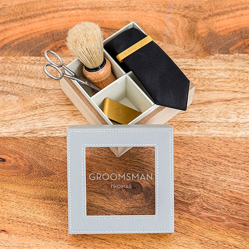 Wood And Faux Leather Keepsake Box With Glass Lid - Groomsman Personalised