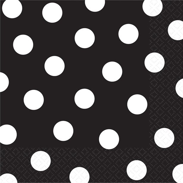 Luncheon Napkins - Black Polka Dots - 16pk