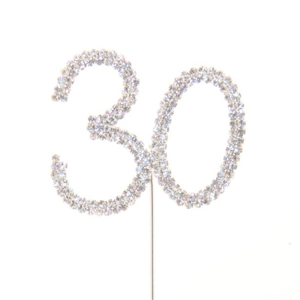 30th Birthday/Anniversary Diamante Cake Pick