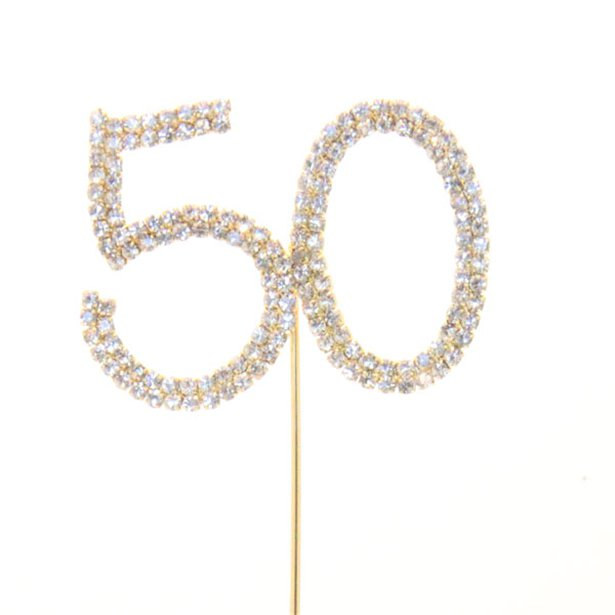 50th Birthday Anniv Diamante Cake Pick