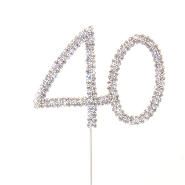Diamante Cake Pick - 40th Birthday - 40th Anniversary