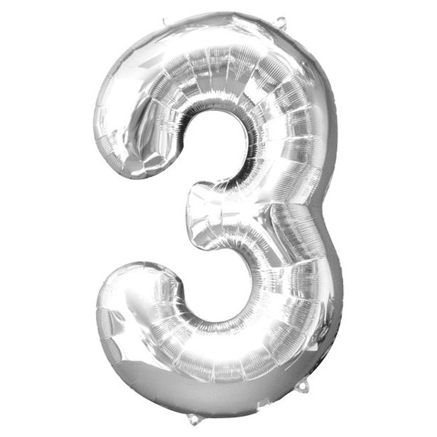 Balloon Foil Number - 3 Silver -  34""