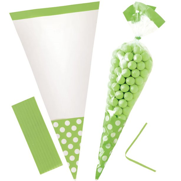 Cellophane Cone Sweet Bags - Lime - 10pk