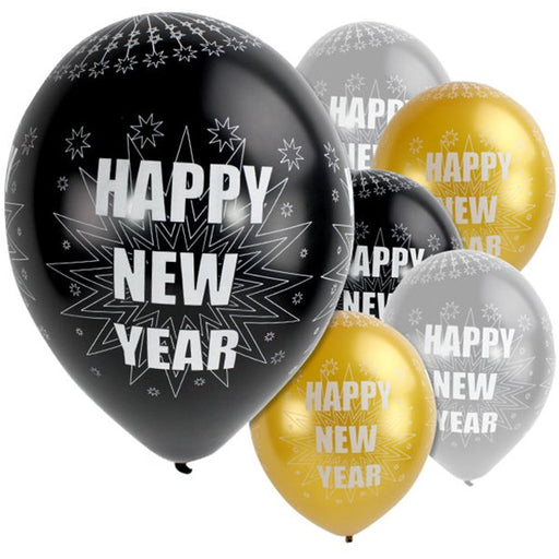 Happy New Year Sparkling - Silver & Black Balloons