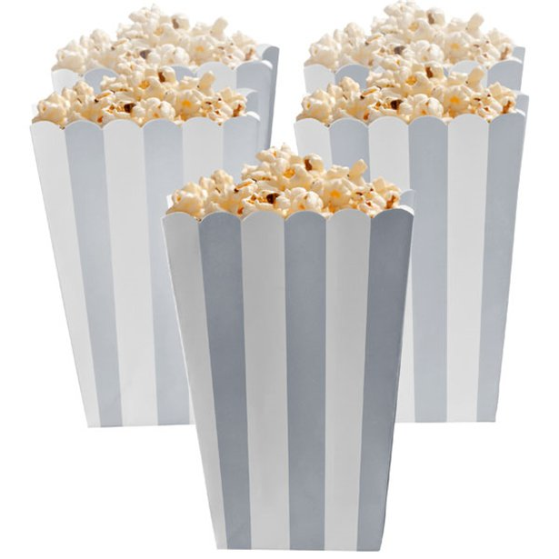 Candy Buffet Popcorn Boxes - Silver