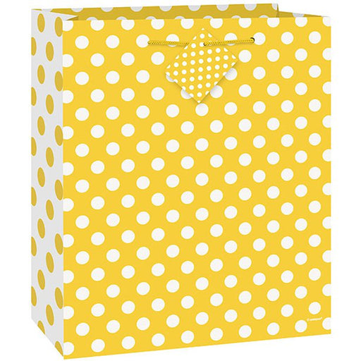 Yellow Polka Dot Gift Bag - 23Cm