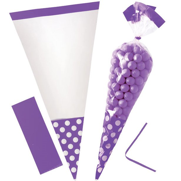 Cellophane Cone Sweet Bags - New Purple - 10pk