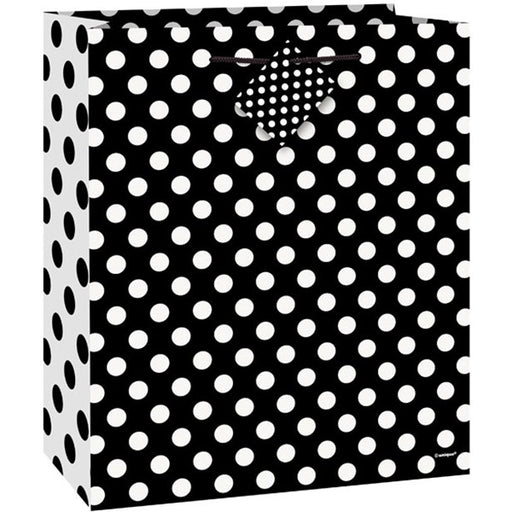 Black Polka Dot Gift Bag - 23Cm