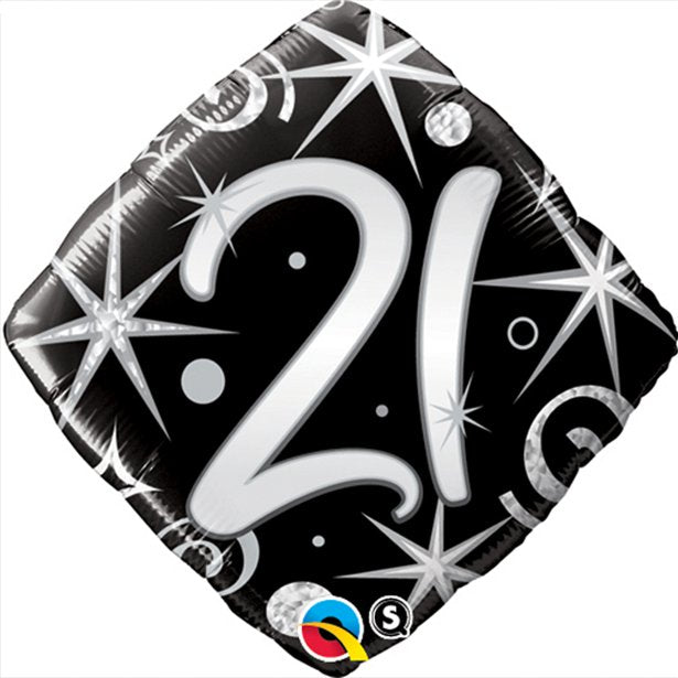 Balloon Foil Diamond Shape - Sparkles & Swirls Design - 21st Birthday