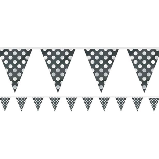 Black Polka Dot Bunting - 12ft
