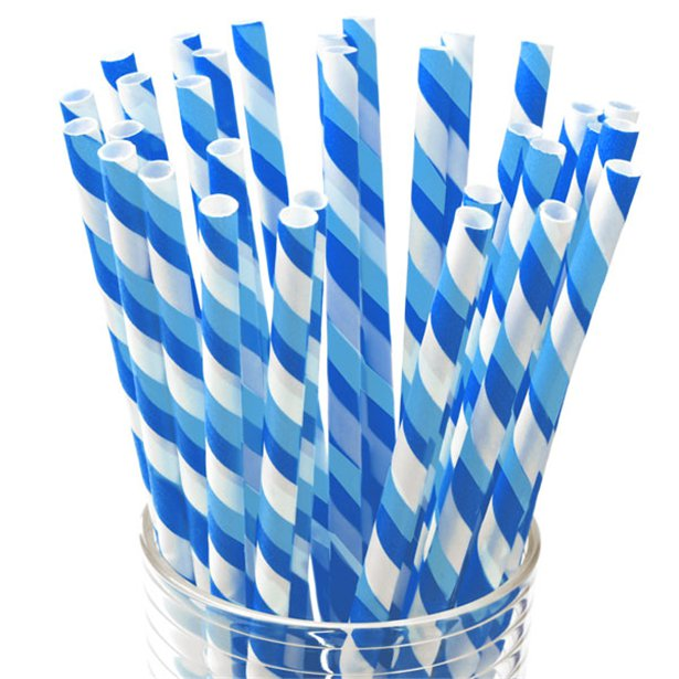 Paper Straws - Blue Stripe - 30pk