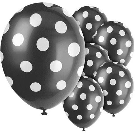 Black Polka Dot Balloons - 12'' Latex