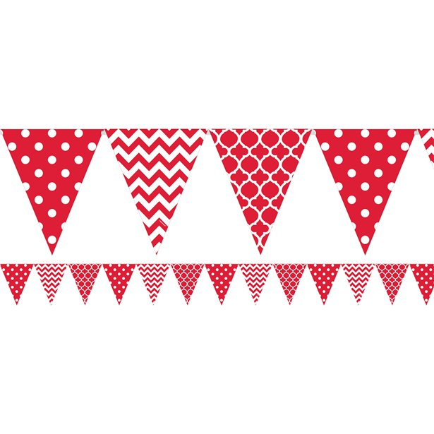 Apple Red Polka Dot & Chevron Bunting - 3.65m