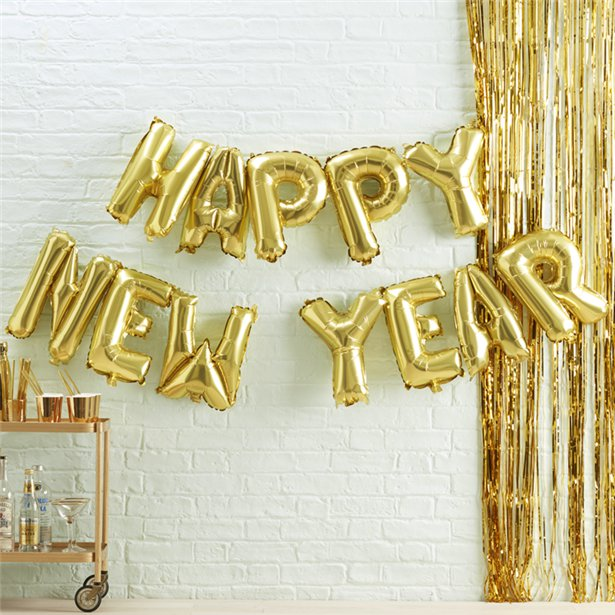 Metallic Star- Happy New Year Balloon Bunting