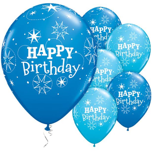 "Happy Birthday Blue Sparkle Balloons - 11"" Latex"