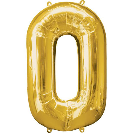 Balloon Foil Number - 0  Gold - 34""