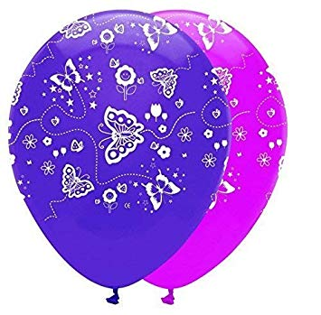 Butterflies Pink & Purple Mix Latex Balloons