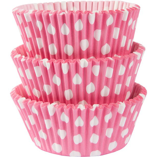 Cupcake Cases - Pink with White Polka Dots - 75pk