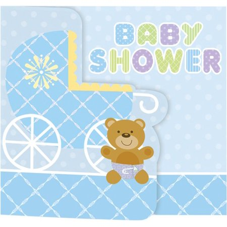 Invitations - Teddy Baby Blue - 8pk