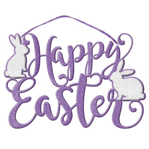 Happy Easter Glitter Script Foam Sign 33x22cm