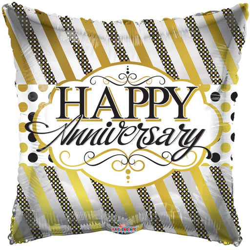 Balloon Foil Square Shape - Lines And Dots - Happy Anniversary 18''