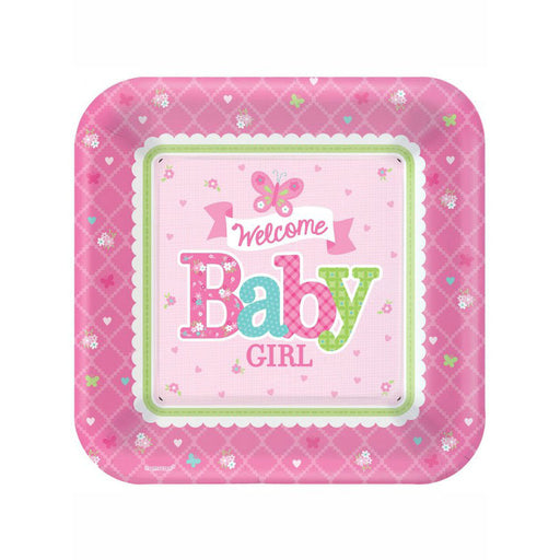 Welcome Baby Girl Plates - 26cm Paper Party Plates