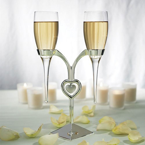 Glass Flutes With Silver Stand Wedding Champagne Glasses