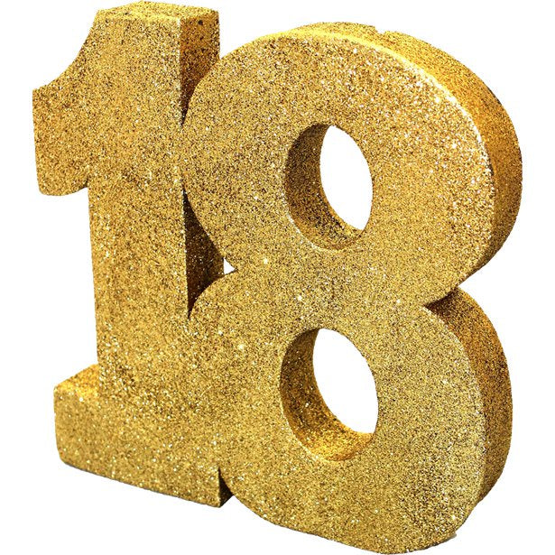 Table Decoration - 18 Gold Glitter - 20cm