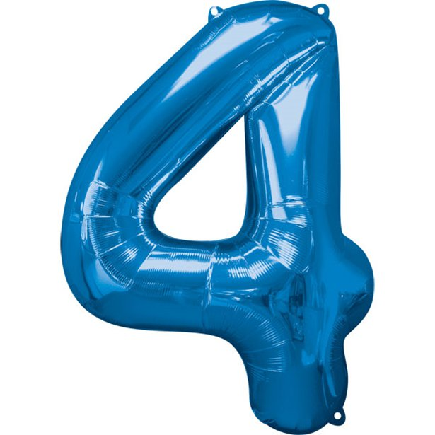 Balloon Foil Number - 4 Blue - 34""