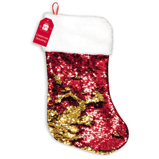 Christmas Stocking - Reversible Red & Gold Sequin - 55cm