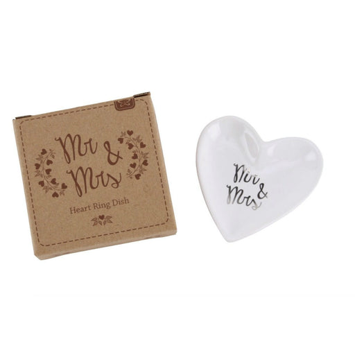 Mr & Mrs Ceramic Heart Ring Dish