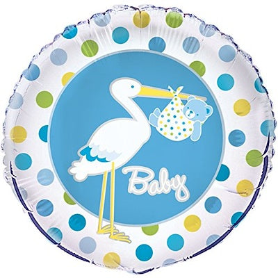 Balloon Foil Round Shape - Stork Polka Dots Blue - Baby 18""