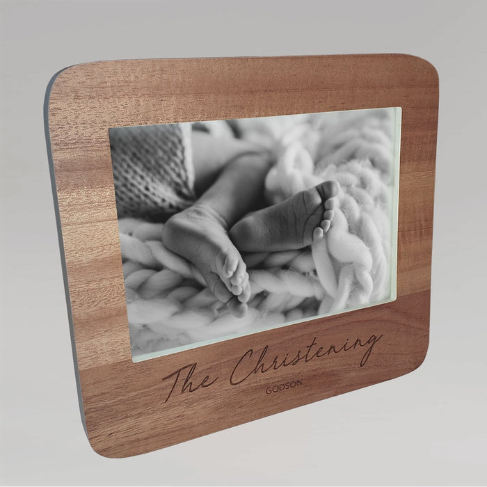 Wooden Picture Frame With White Edges - Signature 'The Christening' and 'Godson' Script