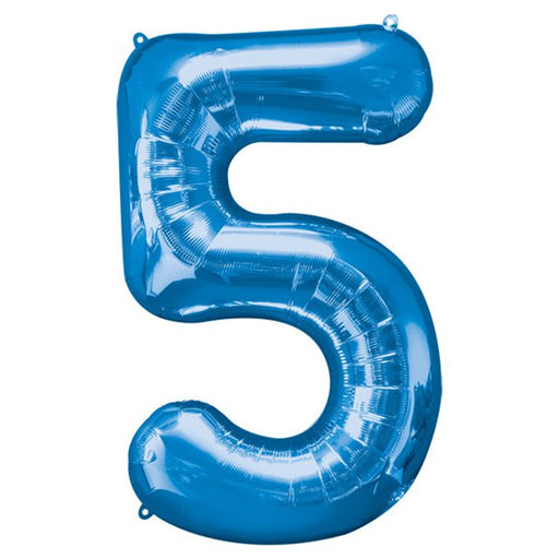 Balloon Foil Number - 5 Blue - 34""