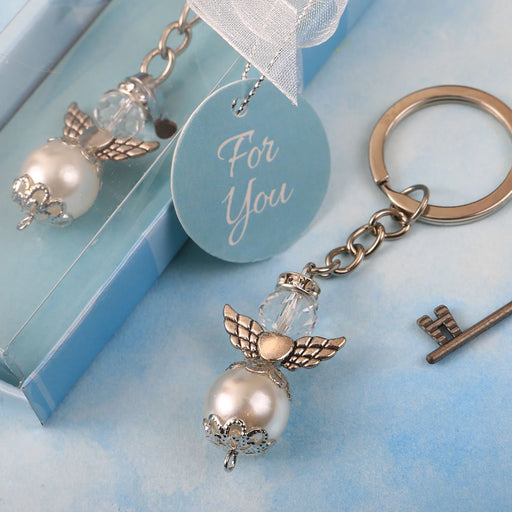Angel Themed Pearl and Crystal Keychain