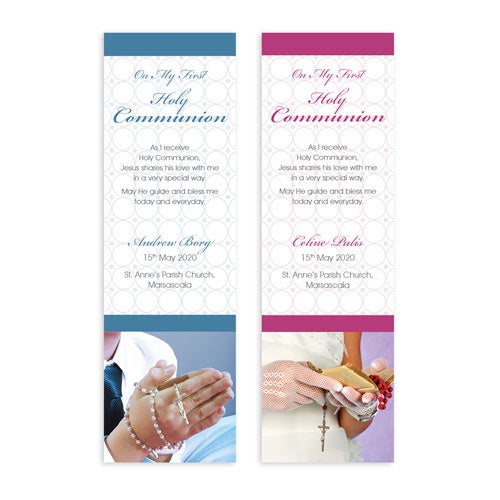 Bookmarks Personalized - Holy Communion - Rosary Prayer - BMK04-12